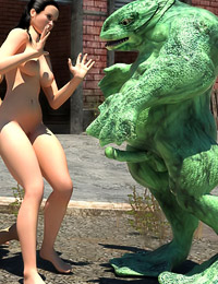Disgusting frog monsters are having some sexy time with two hot babes and make them eat cum.